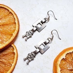 Handmade Silvertone Tiny Robot Earrings